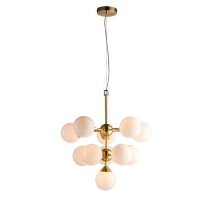 lampa wisząca ze szklanymi kulami złota