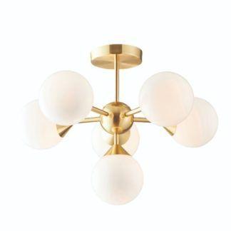 Lampa sufitowa Oscar - złota, białe szkło