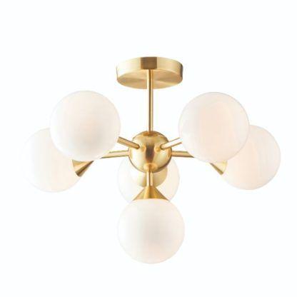 lampa sufitowa złota z mlecznymi kloszami
