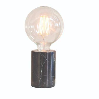 czarna lampa stołowa z marmuru
