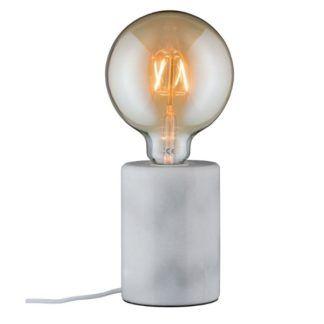 Biała lampa stołowa Nordin - marmurowa