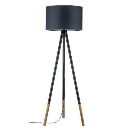 lampa podłogowa trójnóg szary abażur