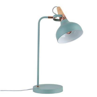 lampa biurkowa miedź drewno błękit