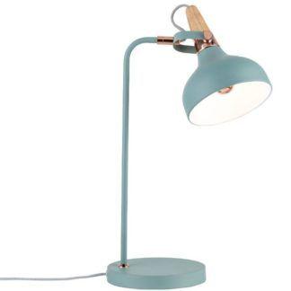 Metalowa lampa stołowa Juna - miedź, drewno