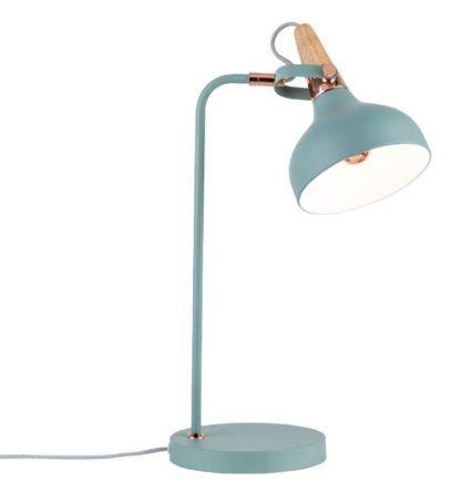 błękitna skandynawska lampa biurkowa