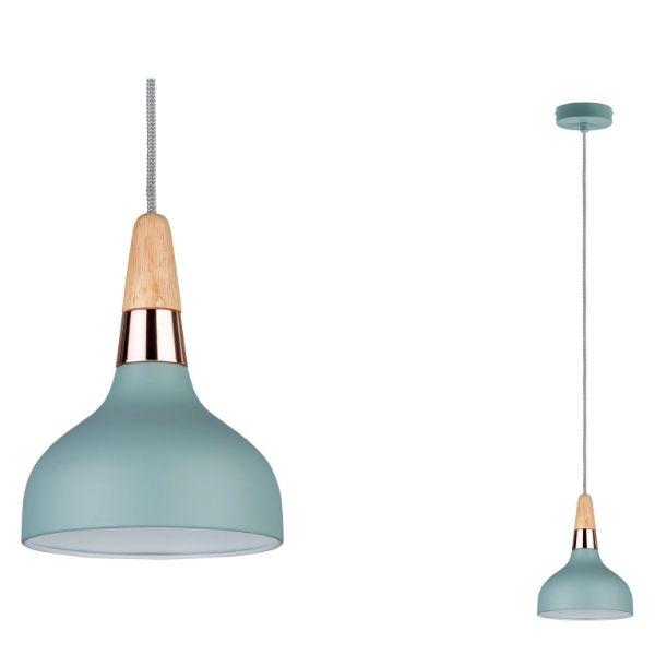 błękitna lampa wisząca miedziane detale