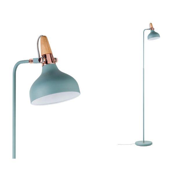 lampa podłogowa błękit i miedź skandynawska