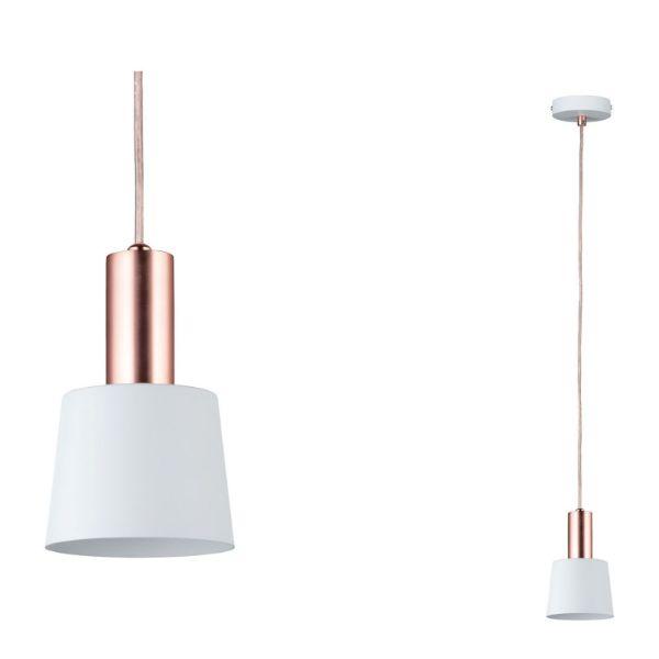 lampa wisząca z wąskim kloszem miedziane detale