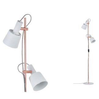 Lampa podłogowa Haldar - miedź, białe klosze