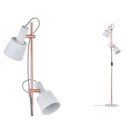 miedziana lampa podłogowa białe klosze