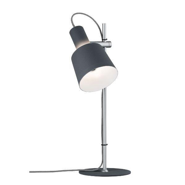 srebrna lampa stołowa z szarym regulowanym kloszem