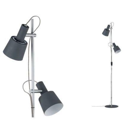 lampa podłogowa chrom i szare klosze nowoczesna