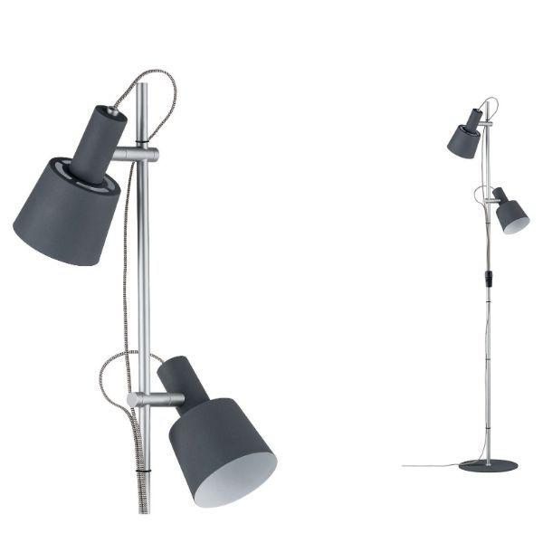 nowoczesna lampa podłogowa dwa regulowane klosze