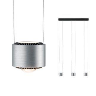 Ledowa lampa wisząca Aldan - srebrne klosze, nowoczesna