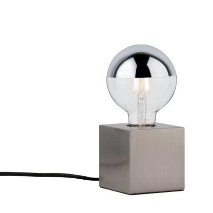 srebrna lampa stołowa wielościan