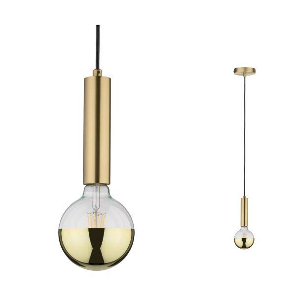 złota lampa wisząca nowoczesna tuba
