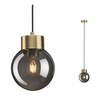 Nowoczesna lampa wisząca Linja - szklany klosz, złota