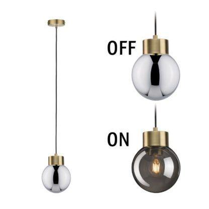 szklana lampa wisząca efekt lustra