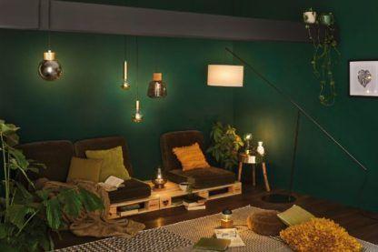 zielony salon oświetlenie aranżacja
