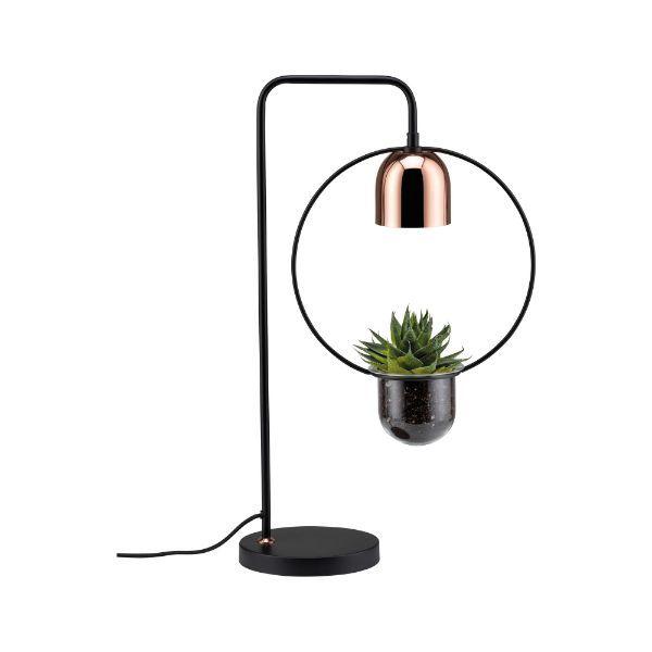 lampa stołowa z doniczką miedź