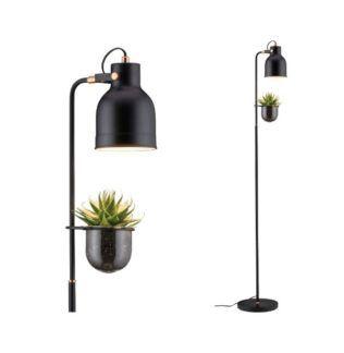 Czarna lampa podłogowa Elric - szklana oprawa na roślinę