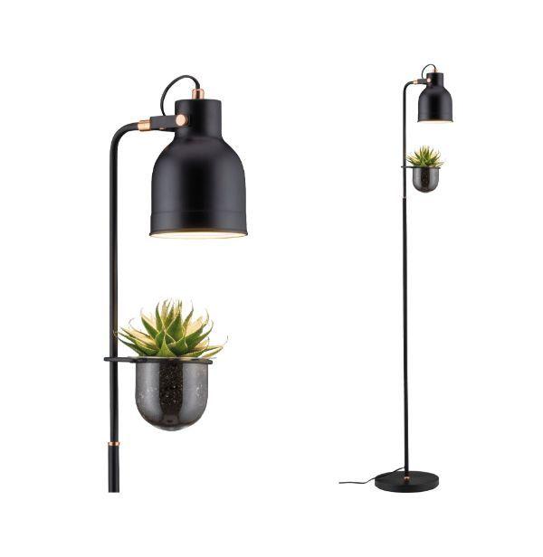 czarna lampa podłogowa z doniczką