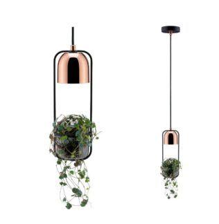 Skandynawska lampa wisząca Fanja - miedź, oprawa na roślinę