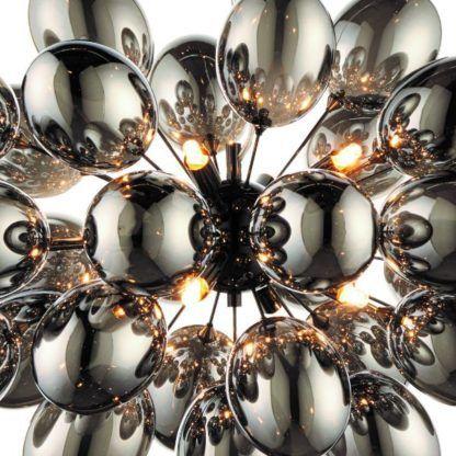 srebrna lampa wisząca szklane bańki