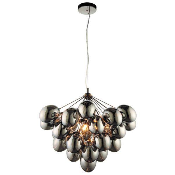 lampa wisząca ze srebrnych szklanych baniek
