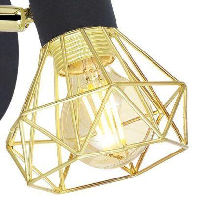 kinkiet ze złotym geometrycznym kloszem