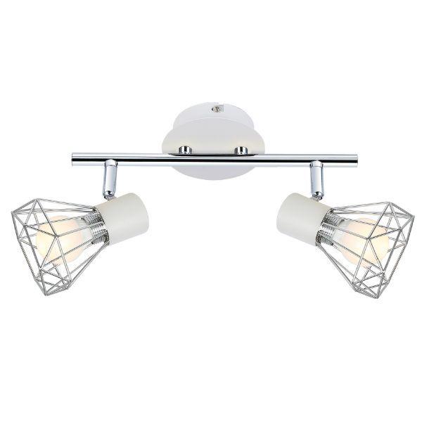 biała lampa sufitowa ze srebrnymi kloszami