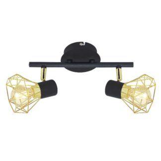 Lampa sufitowa Verve - druciane klosze, czarno-złota