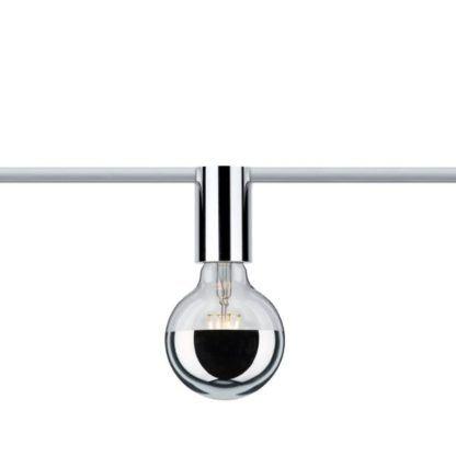 system szynowy srebrna oprawka na żarówkę dekoracyjną