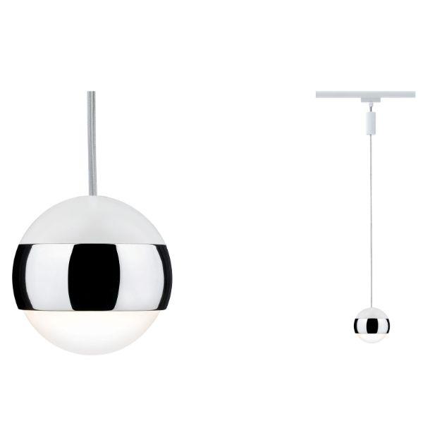 biała lampa wisząca system szynowy