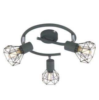 Okrągła lampa sufitowa Verve - szary mat, 3 klosze