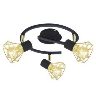 Czarna lampa sufitowa Verve - 3 złote klosze