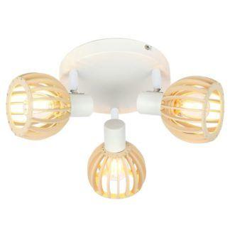 Okrągła lampa sufitowa Atarri - biała, drewniana