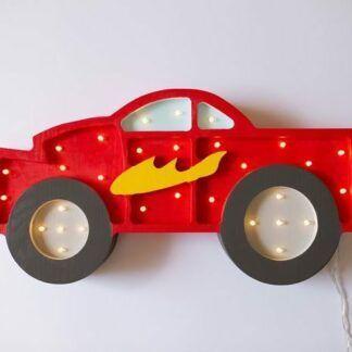 Lampa z drewna dla dziecka auto Monster - LED