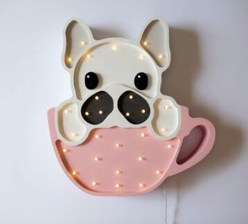 Lampa drewniana Pies w filiżance - LED