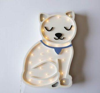 Lampka nocna z drewna do pokoju dziecka Kotek - LED