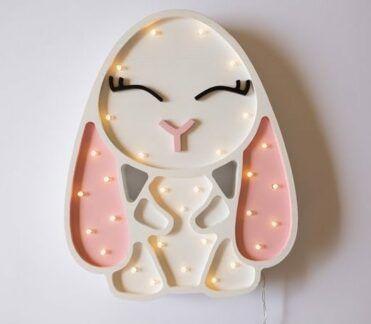 Lampka drewniana dla dziecka Królik - lampki LED