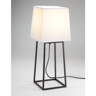 Stylowa lampa stołowa Tomo - czarna baza, biały abażur