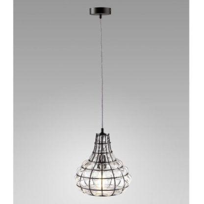 druciana lampa ze szklanym kloszem