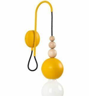Ozdobny kinkiet Loft Bala z ozdobnymi kulkami - żółty matowy