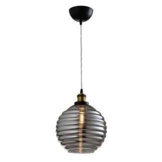 Szklana lampa wisząca Tobias - szara kula