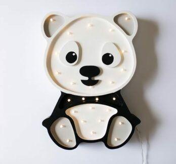 Dziecięca lampa z drewna na szafkę Panda - LED