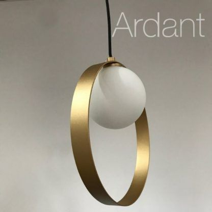 lampa szklana kula złoty pierścień