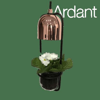lampa miedziana z doniczką