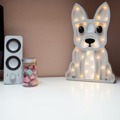 Lampa drewniana dla dziecka Buldog - LED