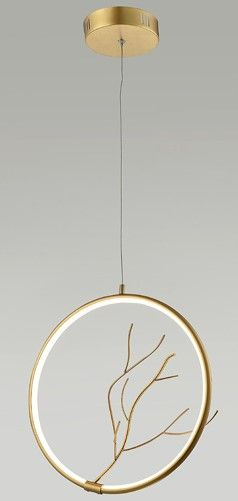 złota lampa wisząca ring pionowy